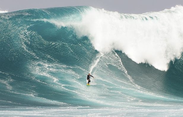 big-wave surfing at Cow Bombie, Australia
