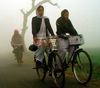Bicyclists in India